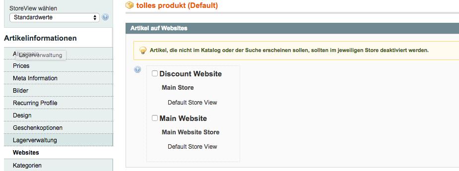 Websites auswählen